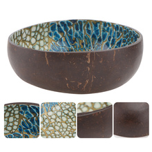 1Pc Coconut Shell Bowl Storage Bowl Key Container Home Decor (Blue, Yellow)