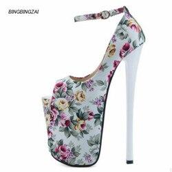 Nuevo patrón de calidad Superior zapatos de mujer 22cm súper fino tacón alto zapatos a prueba de agua 10-12CM Extra grande código del dedo del pie redondo 34-46 47