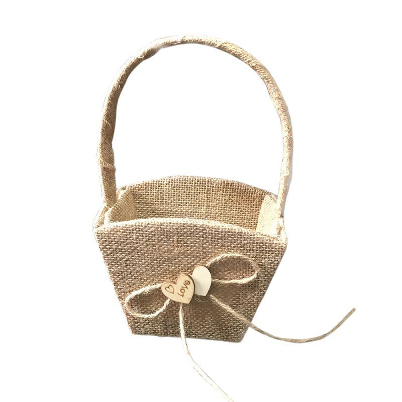Свадебная Цветочная корзина с ручкой для винтажной цветочной корзины для Свадебная церемония, вечеринка QM8047 [ - Цвет: B