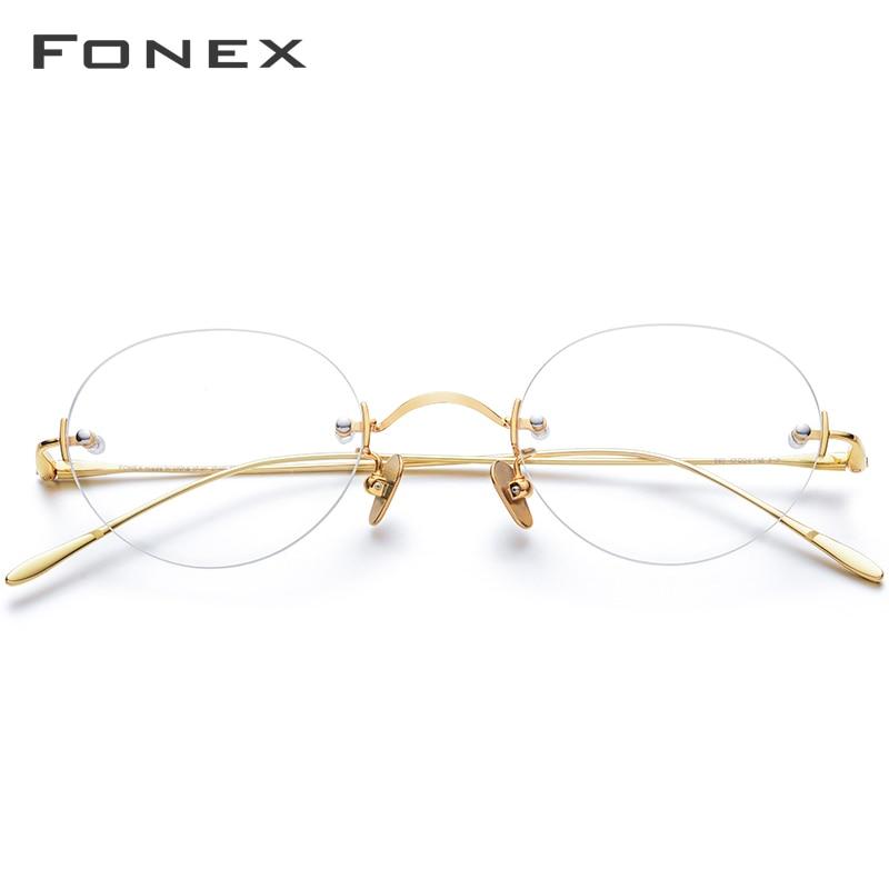 FONEX B Titanium Rimless Glasses Women Prescription Myopia Optical Eyeglasses Frame Men 2019 New Vintage Retro Oval Eyewear 869