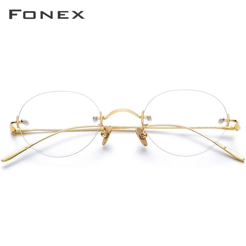 FONEX B titane sans monture lunettes femmes Prescription myopie optique lunettes cadre hommes 2019 nouveau Vintage rétro ovale lunettes 869