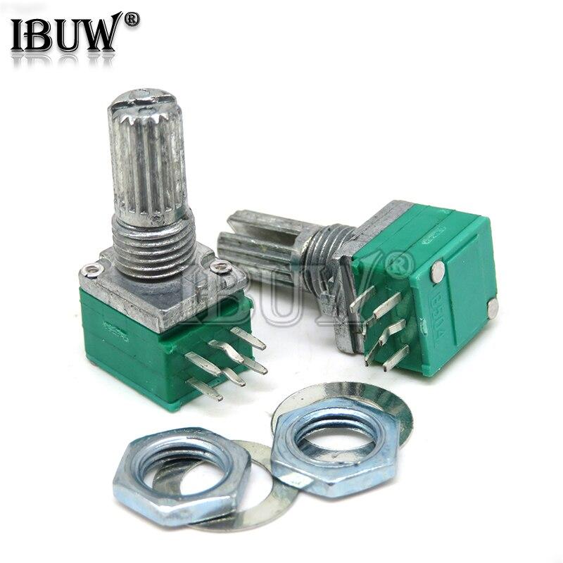 5 шт. RK097G 5K 10K 20K 50K 100K 500K B5K с переключателем аудио 6PIN вал 15 мм усилитель уплотнительный потенциометр RK097 зеленый