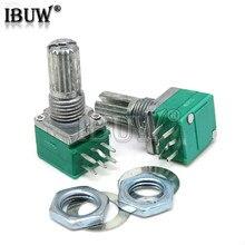 5 pces rk097g 5k 10k 20k 50k 100k 500k b5k com um interruptor de áudio 6pin eixo 15mm amplificador potenciômetro vedação rk097 verde