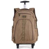 Männer Reise leinwand trolley Roll Gepäck rucksack taschen auf rädern rädern rucksack für Business Kabine tragen auf koffer
