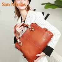 San Maries Women Tote Bag Handbags Genuine Leather Casual Hand Bags Big Capacity Woman Shoulder Bag Large Ladies Shopping Bags