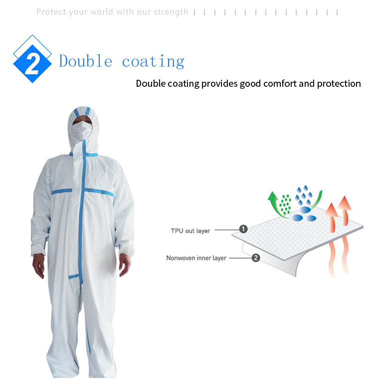 Coverall Disposable Anti Epidemic and Antibacterial Isolation Suit for Prevention from Viruses and Bacteria 9