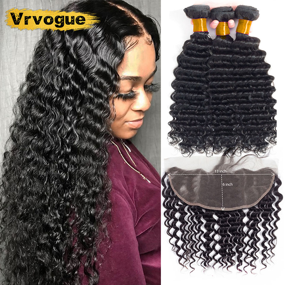 Vrvogue Deep Wave 3 Bundles With Frontal Closure Brazilian Human Hair Bundles With 13x6 Lace Frontal Remy Hair Natural Color
