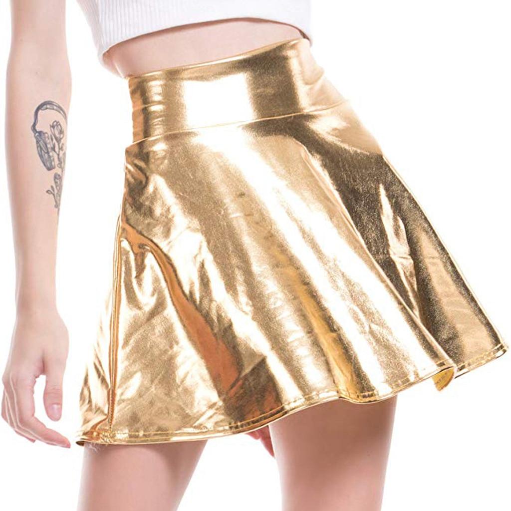 MIARHB Skirts Womens Faux Leather Skirt Slim A-Line Pleated Skirt High Waist Mini Skirt Plus Size Faldas Mujer Moda 2019