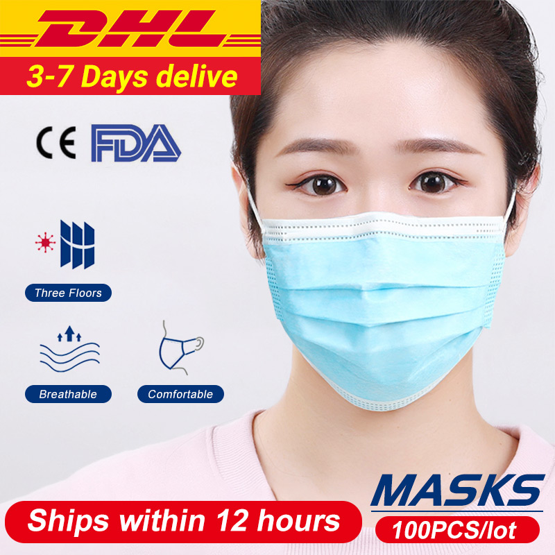 100 Pieces/Lot Disposable Masks Medical 3 Layer Mouth Mask Thickened Half Face Mask For Surgical Women And Men High Quality