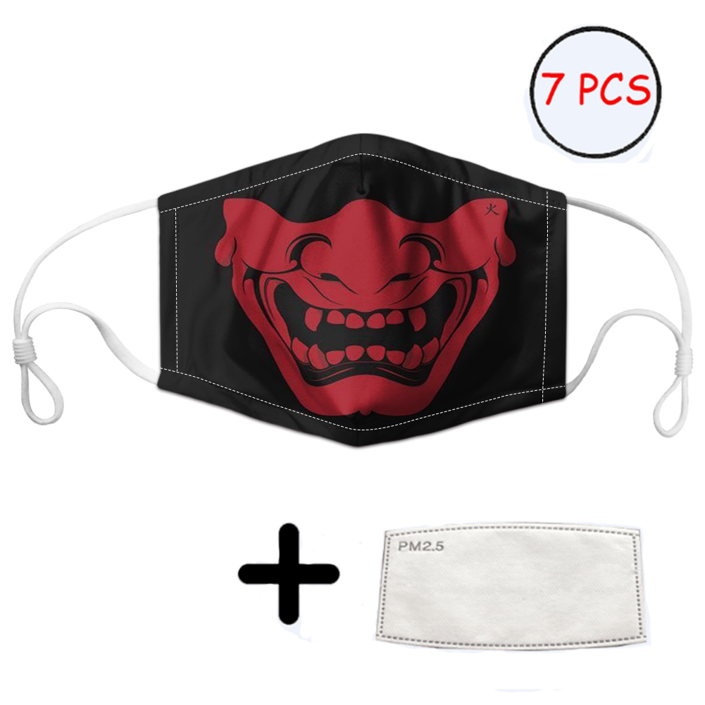 THIKIN Samurai Art Print Anti Dust Mask Activated Men/Kids Reusable Dustproof Mask With 7 Filters Washable Mouth Cover Masks