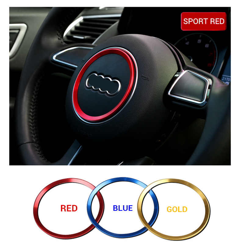 Auto styling aluminiumlegering Stuurwiel Ring Stickers Decals voor Audi A3 A4L Q3 Q5 A5 A6L auto Accessoires