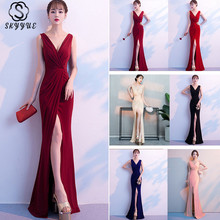 Skyyue Evening Dress Solid Sleeveless Robe De Soiree Pleat Women Party Dresses 2019 Deep V-neck Formal Evening Gowns C118-DS1 цена 2017