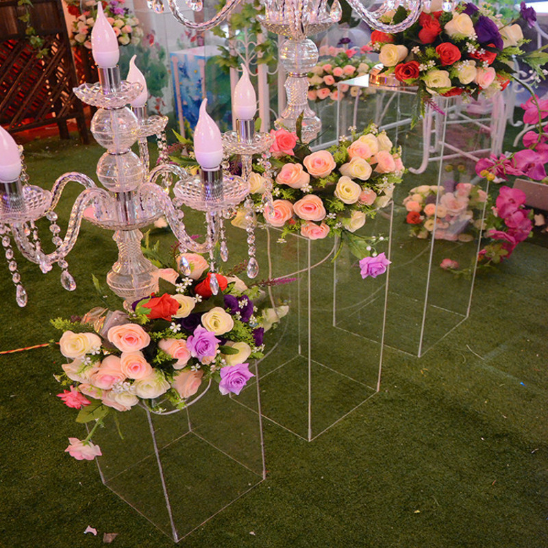 Acrylic Wedding Flower Stand Aisle Crystal Clear Square Column Wedding Decoration Flower Frame Road Decoration Column party