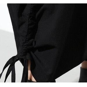 Image 5 - [EAM] 2020 ربيع الخريف موضة جديدة الأسود الصلبة جيوب مرونة الخصر عادية فضفاض كبير الحجم المرأة طويلة عبر السراويل RA231