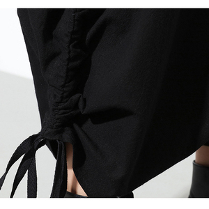 Image 5 - [Eam] 2020春秋の新ファッションブラックソリッドポケット弾性ウエストカジュアルルーズビッグサイズレディースロングクロスパンツRA231