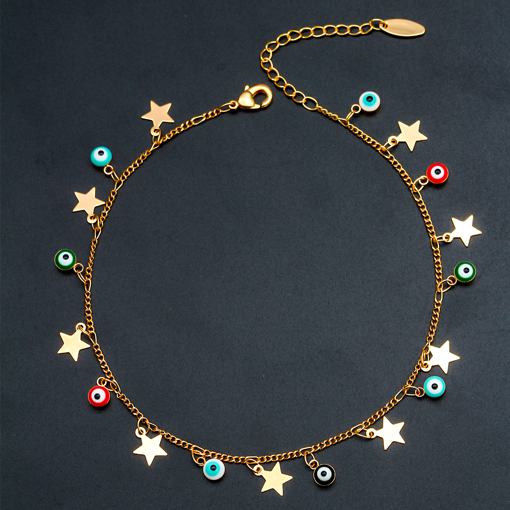 EVIL EYE Star Charm Anklet Bracelet Gold Color Foot Chain Adjustable Turkish Eye Ankle Fashion Jewelry for Women Female EY6502 5