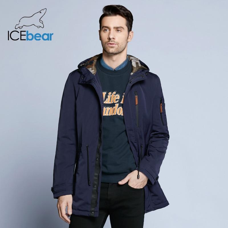 ICEbear 2019   Trench   Coat For Men Adjustable Waist Hat Detachable Autumn Men New Casual Medium Long Brand Coats 17MC017D