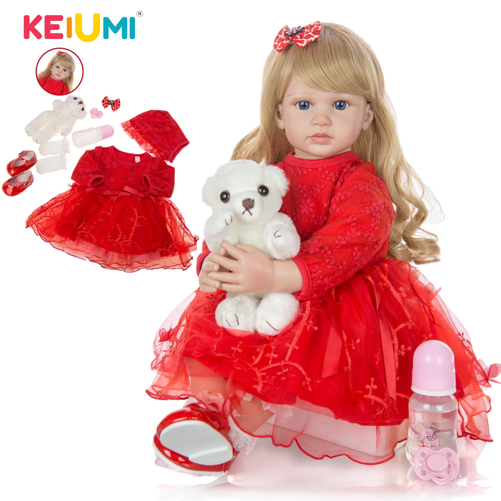 KEIUMI Bebê Reborn Menina Loira Cabelo Longo Princesa Vestido Vermelho Sapatinho Corpo Silicone Olhos Azuis Aniversário Presente