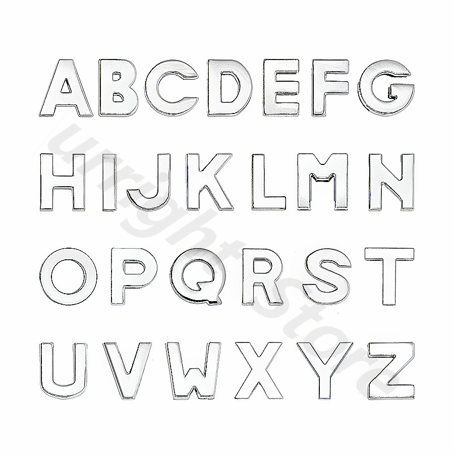 10mm-铬色光面-字母穿戴