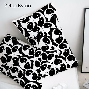 3D Pillow Case Black white panda ,Pillowcase Custom/50x70/50x75 Decorative Pillow Cover,Cartoon Bedding for kids/baby/children image