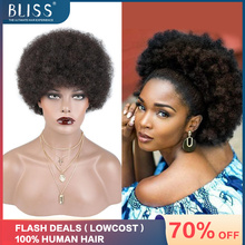 Bliss Afro Kinky Curly Wig Human Hair Short Curly Human Hair Wig Pixie Cut Wigs Fluffy Hair For Black Women