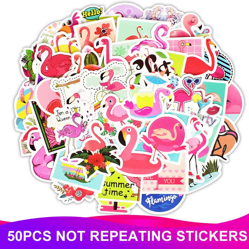 50pcs/Pack Kawaii Cute Animal Flamingo Stickers Waterproof Skateboard Suitcase Phone Laptop  Funny Stickers Kids Classic Toys