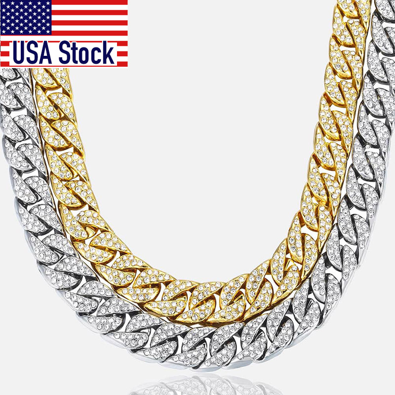 Dancing Stone 9mm 11mm 13mm Wide Stainless Steel Necklace Cuban Curb Link Chain Silver