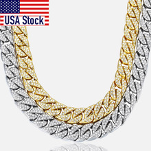14mm Mens Necklace Miami Curb Cuban Chain Gold color Hip Hop Iced Out Paved Rhinestones CZ Rapper Male Necklace Jewelry GN432