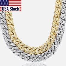 14mm männer Halskette Miami Curb Kubanischen Kette Gold farbe Hip Hop Iced Out Gepflasterte Strass CZ Rapper Männlichen halskette Schmuck GN432