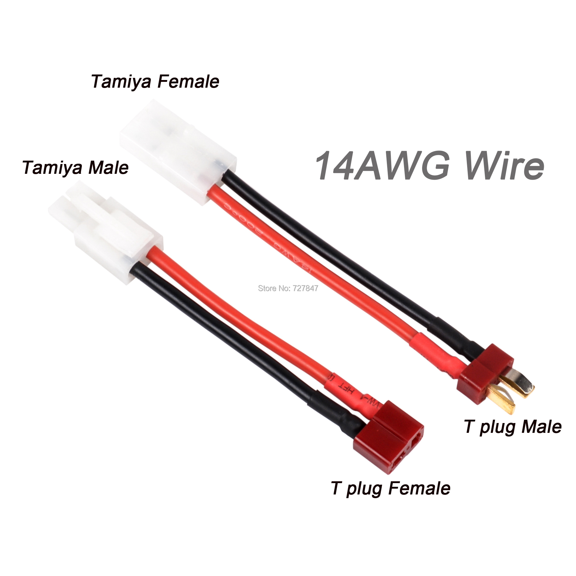 RC Parts Plug Cable 8cm T Plug Female / Male to Tamiya Male / Female Adapter Cable 14AWG Wire RC Accessories car For FPV Drone