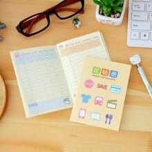 4 pçs coreano papelaria bonito mini caderno planejador livro família contabilidade financeira equilíbrio mão bom hábito material escolar