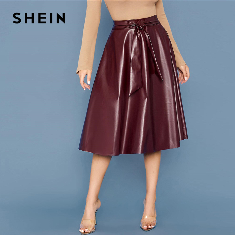 SHEIN Burgundy Tie Waist Faux Leather Flare Skirts Womens Spring Autumn High Waist Office Ladies A Line Elegant Long PU Skirt image