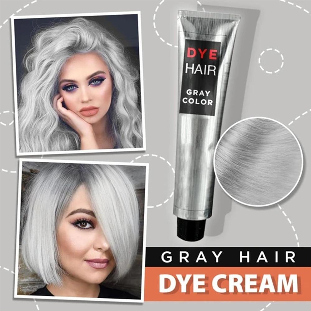 Gray Hair Dye Cream Punk Style Nature Permanent Light Grey Silver Unisex Hair Dye Color Cream Cosmetic Beauty Hair Care 1