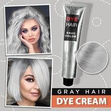 Gri krem saç boyası Punk tarzı doğa kalıcı açık gri gümüş Unisex saç boyası renk krem kozmetik güzellik saç bakımı