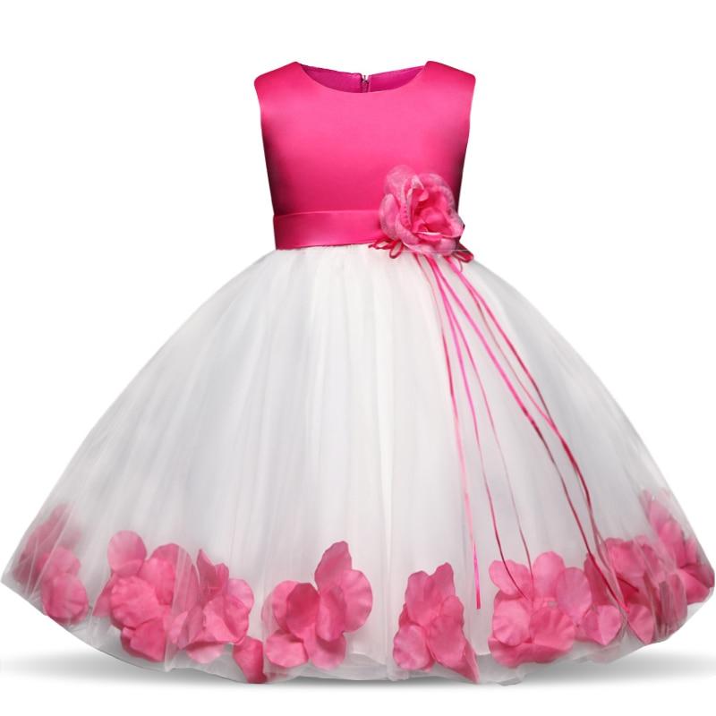 Kids Flowers Ribbons Dresses for Girls Tulle Gown Robe Ceremonie Fille Mariage Enfant Vestido Infantil for Girls Christmas Dress 4
