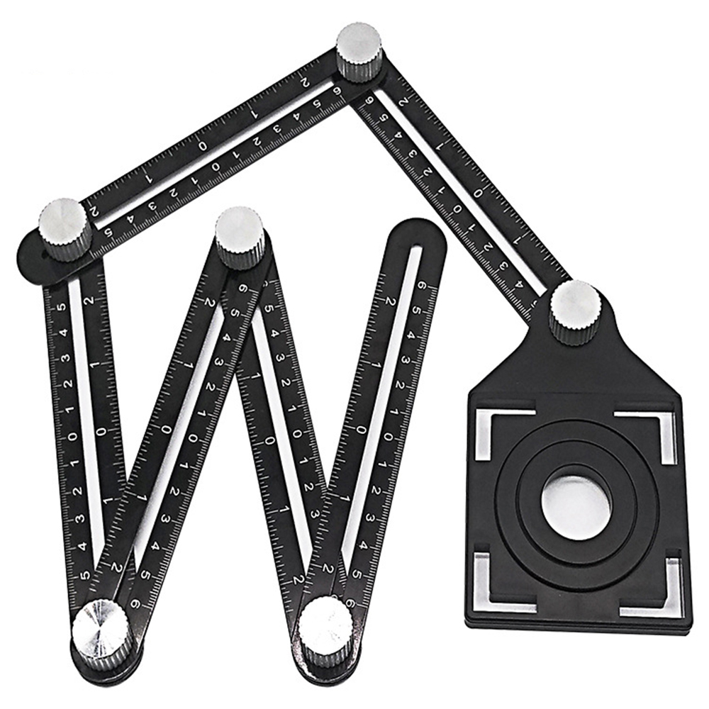 Six-Fold Ruler Aluminum Alloy Tile Opening Locator Mud Tile Shop Paste Floor Tile Glass Vientiane Universal Hole Punch Tools