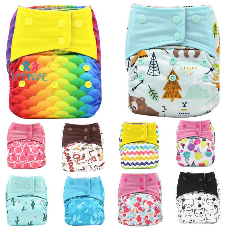 Reusable Baby Diapers Rainbow Cartoon Print Adjustable Nappy Newborn Cloth Diaper Washable&Reusable Pocket Diaper Cover Pants