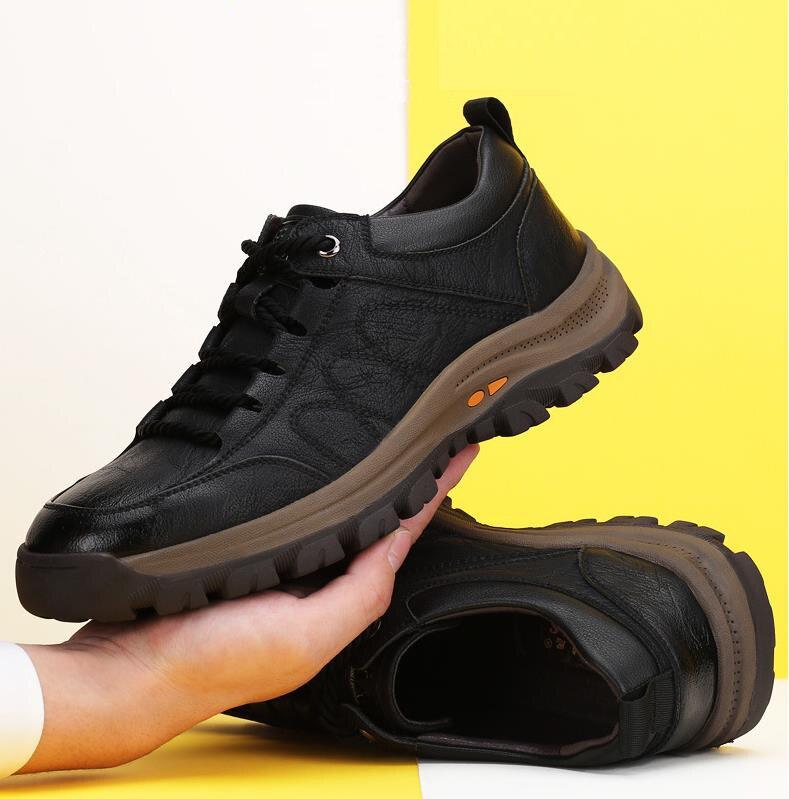 couro grosso buttom wear-resistant sapatos estilo britânico moda masculina sapato