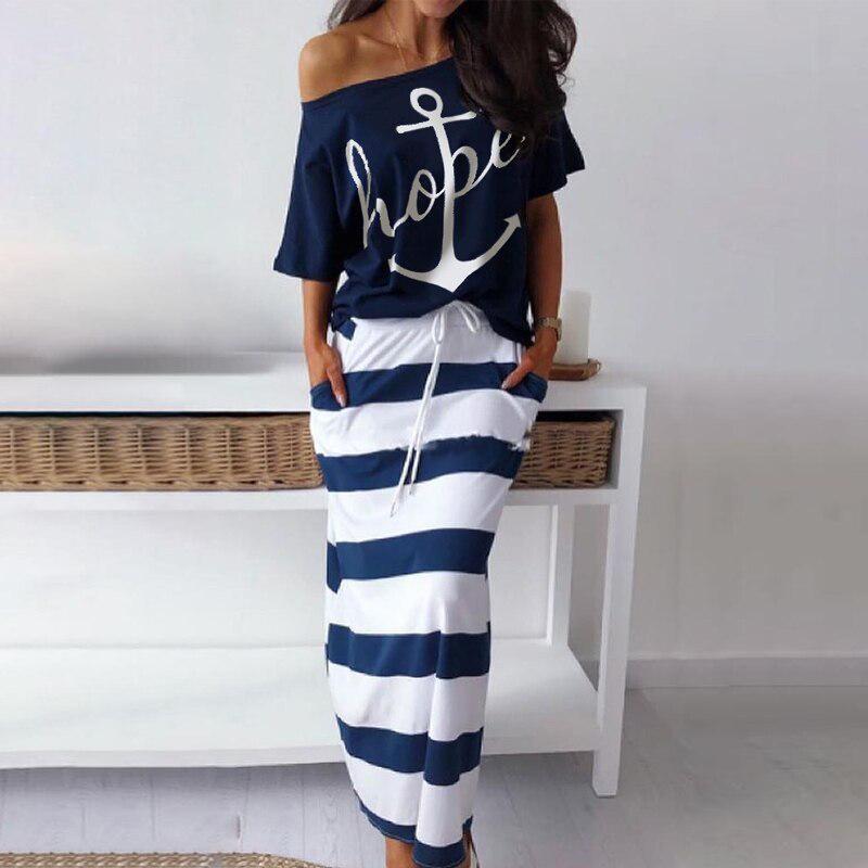 Women Off Shoulder Blouses T shirt & Striped Maxi Dress Summer Slim Slash Neck 2 Pieces Sets Female Casual Ankle Length Dress
