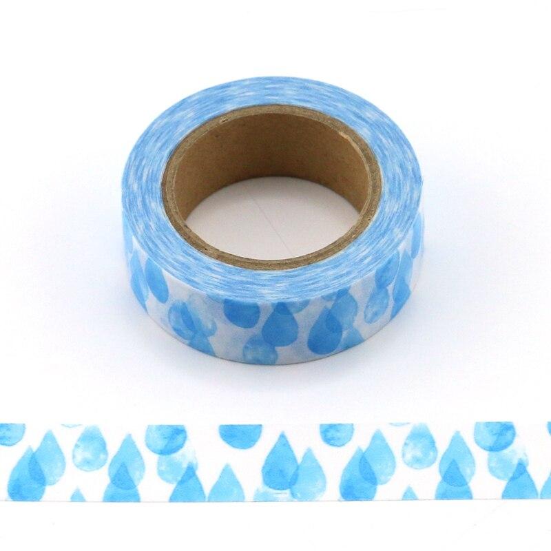 10M Decorative Beautiful Blue Water Drop Washi Tape DIY Scrapbooking Sticker Label Japanese Masking Tape School Office Supply
