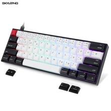 SKYLOONG Teclado mecánico GK61 AK61, Mini teclado portátil con cable, interruptor rojo, marrón y plateado, para videojuegos, Mac/Win/ Desktop