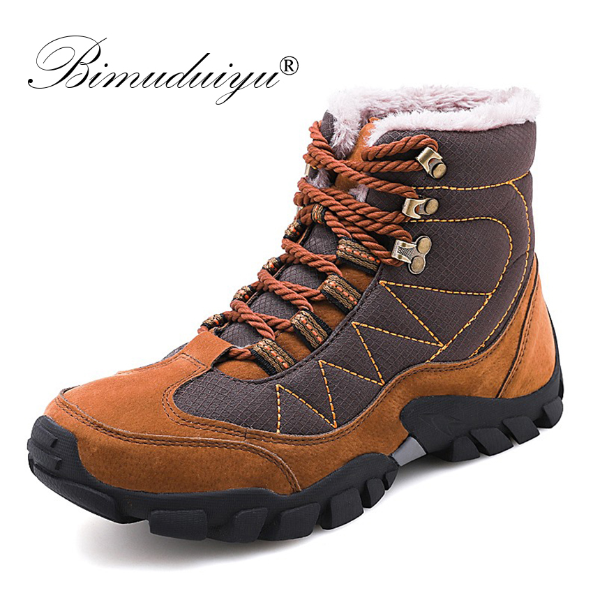 BIMUDUIYU Men Winter Boots New Men Footwear Winter With Fur Warm Snow Ankle Boots Work Platform Shoes Non-slip Rubber Sneakers