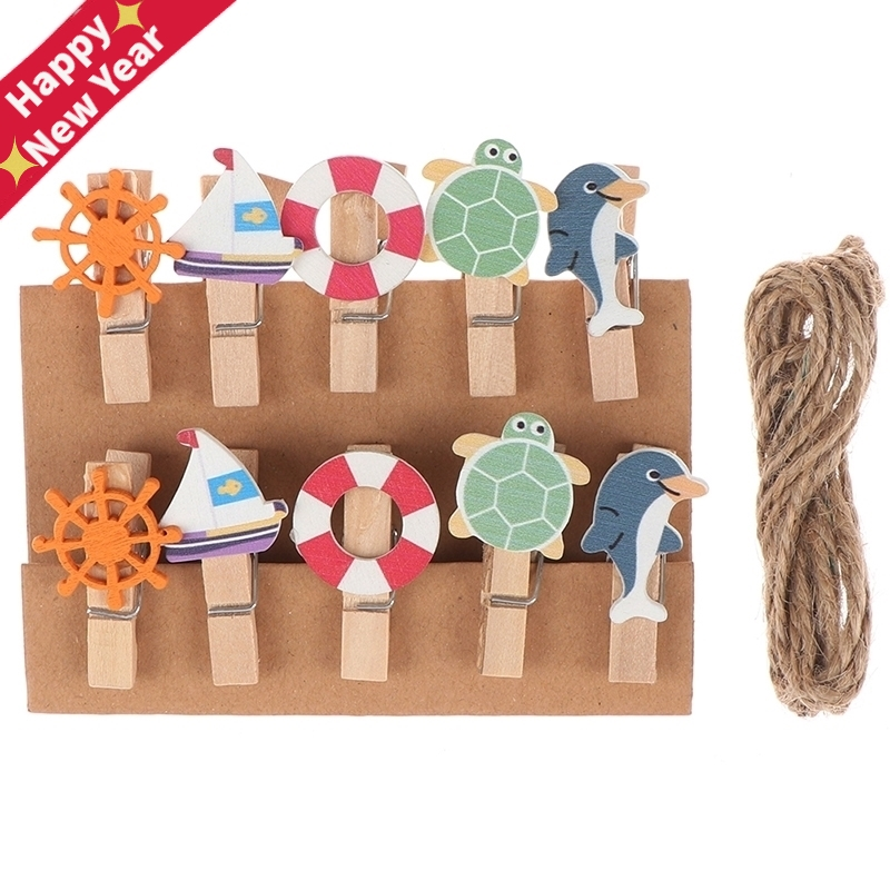 10 Pcs/ Lot Cartoon Animal Sea Wooden Clips Photo Craft DIY Clips With Hemp Rope Clothespin Memo Clips Stationery