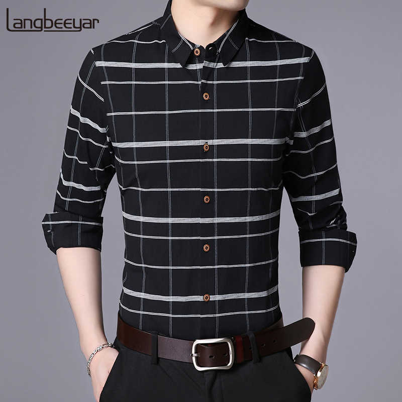 2019 Fall New Fashion Brand Shirt Mannen Plaid Dress Shirt Lange Mouw Slim Fit Katoenen Hoge Kwaliteit Koreaanse Casual Mens kleding