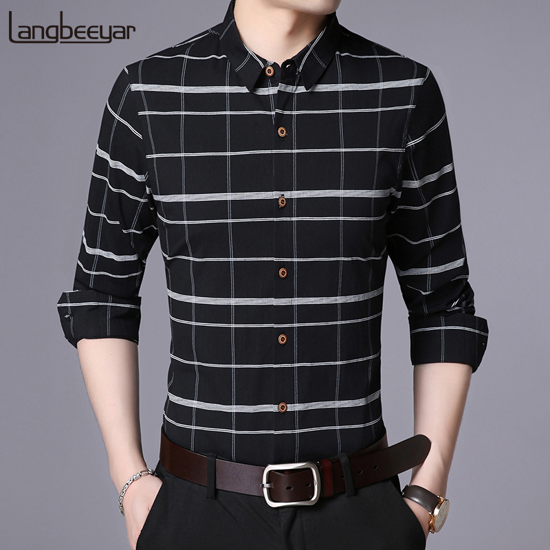 2019 Fall New Fashion Brand Shirt Men Plaid Dress Shirt Long Sleeve Slim Fit Cotton High Quality Korean Casual Mens Clothes