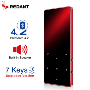 REDANT MP4 Player with Bluetooth Built-in Speaker Touch Key FM Radio Video Play E-book HIFI Metal MP 4 Music Player 8G 16G 32GB