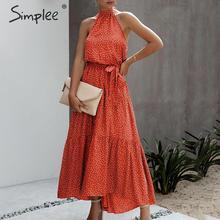 Simplee seksi polka dot kadın elbise artı boyutu kolsuz yüksek bel kemeri maxi boho elbise rahat tatil plaj parti yaz elbisesi