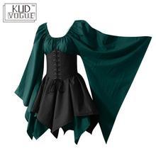 בתוספת גודל מסיבת קוספליי תלבושות Elf נשים מימי הביניים פיות נסיכת לבוש הרשמי גותי בציר גבוה מותניים שמלה למעלה מחוך סט