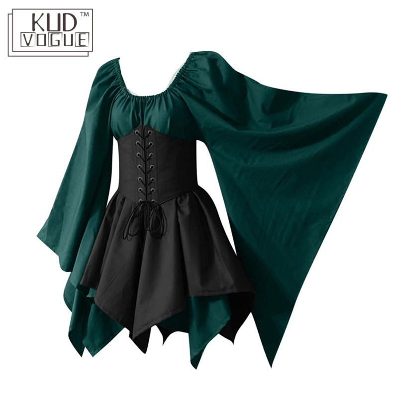 Plus Size Party Cosplay Costume Elf Women Medieval Fairy Princess Formal Dress Gothic Vintage High Waist Dress Top Corset Set