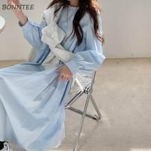 Robe ample et unie à col rond pour femmes, tenue de Style coréen, bleu, élégante, Simple, longueur mi-mollet, Simple, assortie, tendance